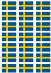 Sweden Flag Stickers - 21 per sheet